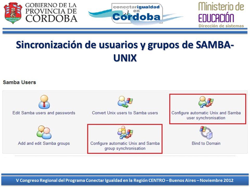 Sincronización de usuarios y grupos de SAMBA-UNIX
