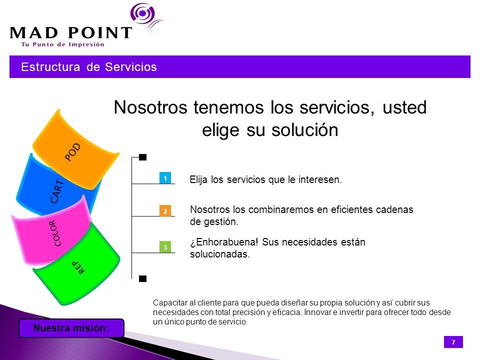 Nosotros tenemos los servicios, usted elige su solución