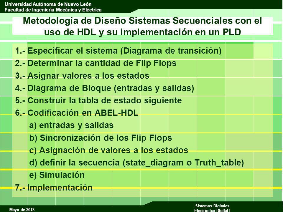 Metodología de Diseño Sistemas Secuenciales con el uso de HDL y su implementación en un PLD