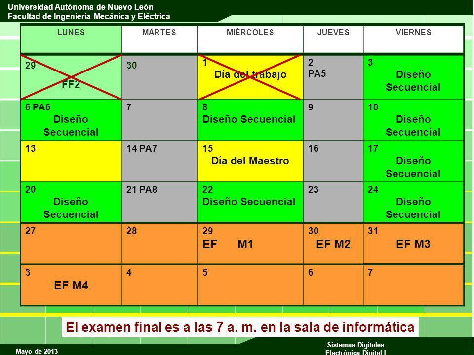 El examen final es a las 7 a. m. en la sala de informática