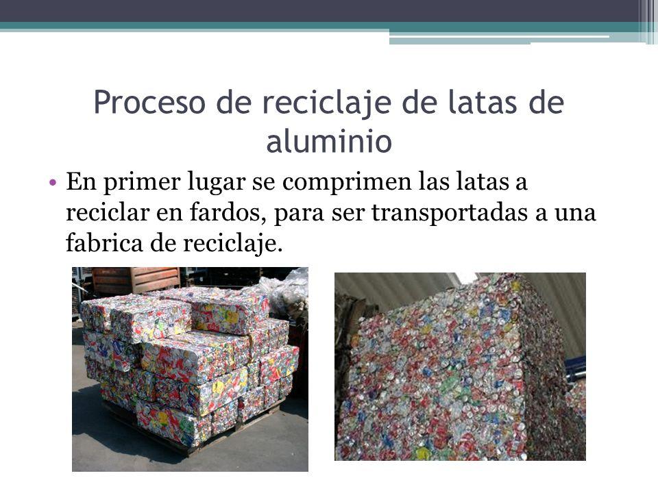 Proceso de reciclaje de latas de aluminio