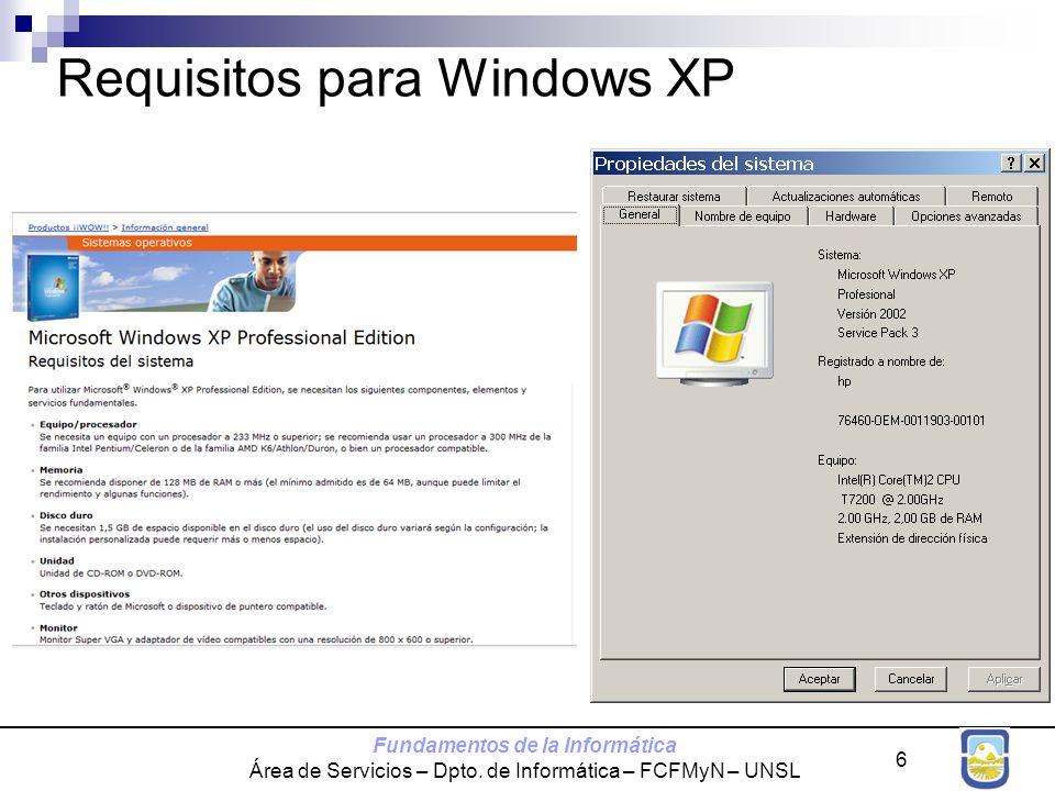 Requisitos para Windows XP