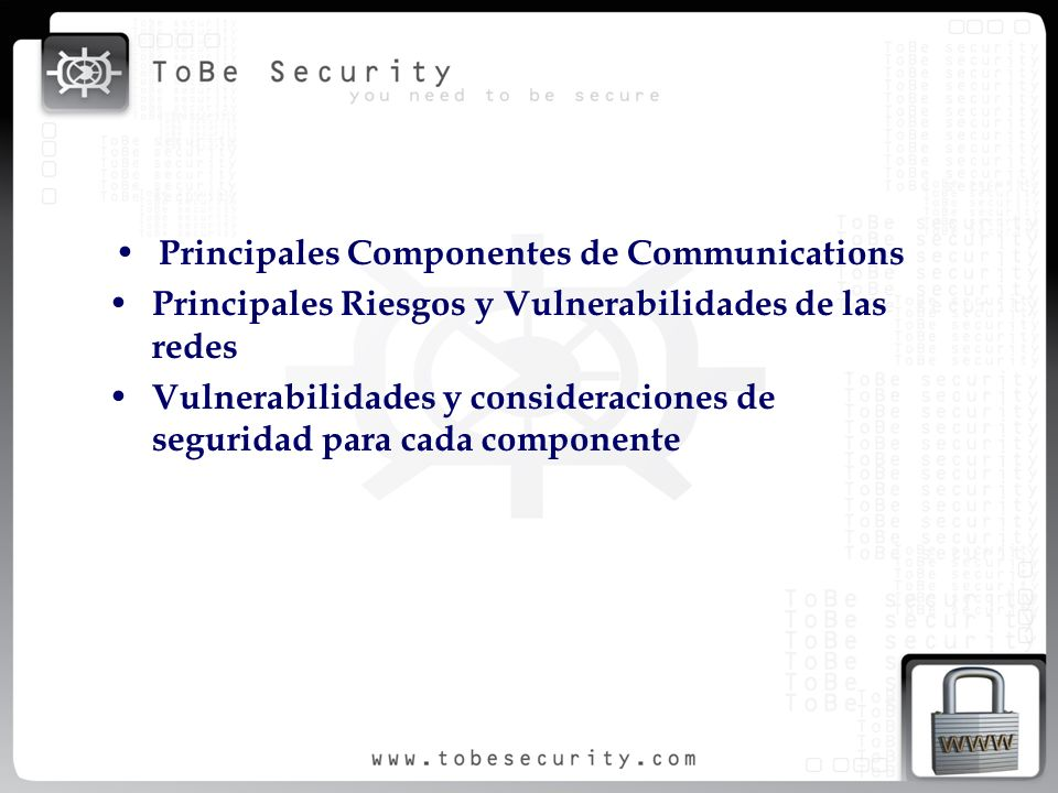 Principales Componentes de Communications