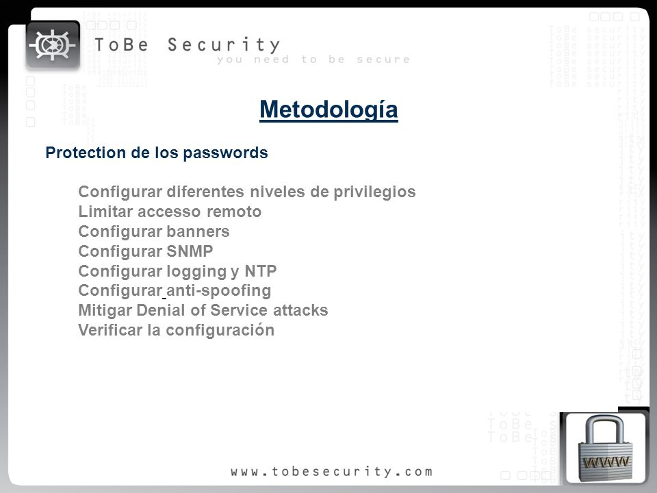 Metodología Protection de los passwords