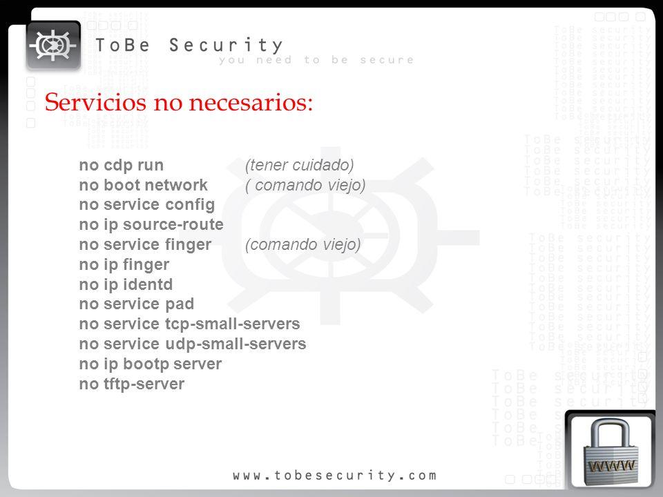 Servicios no necesarios: