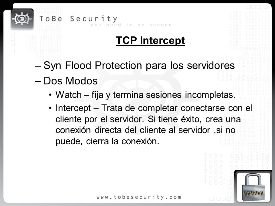 Syn Flood Protection para los servidores Dos Modos