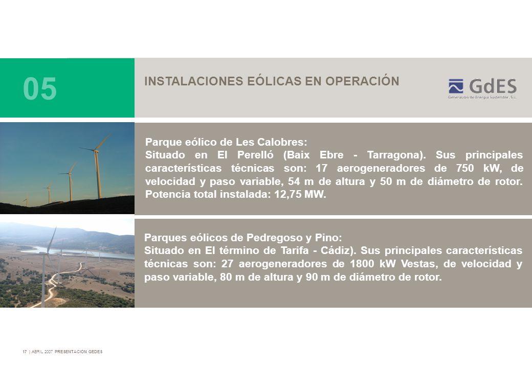 05 INSTALACIONES EÓLICAS EN OPERACIÓN Parque eólico de Les Calobres: