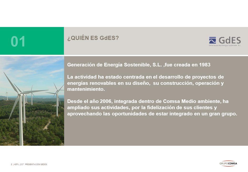 01 ¿QUIÉN ES GdES Generación de Energía Sostenible, S.L. ,fue creada en 1983.