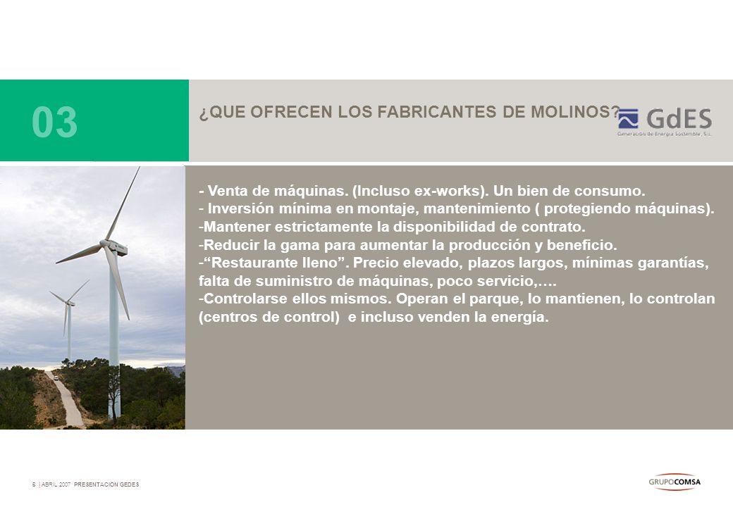 03 ¿QUE OFRECEN LOS FABRICANTES DE MOLINOS