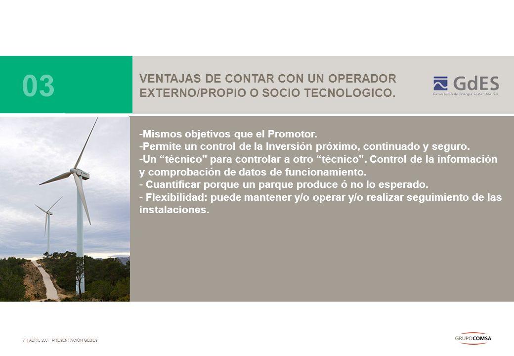 03 VENTAJAS DE CONTAR CON UN OPERADOR
