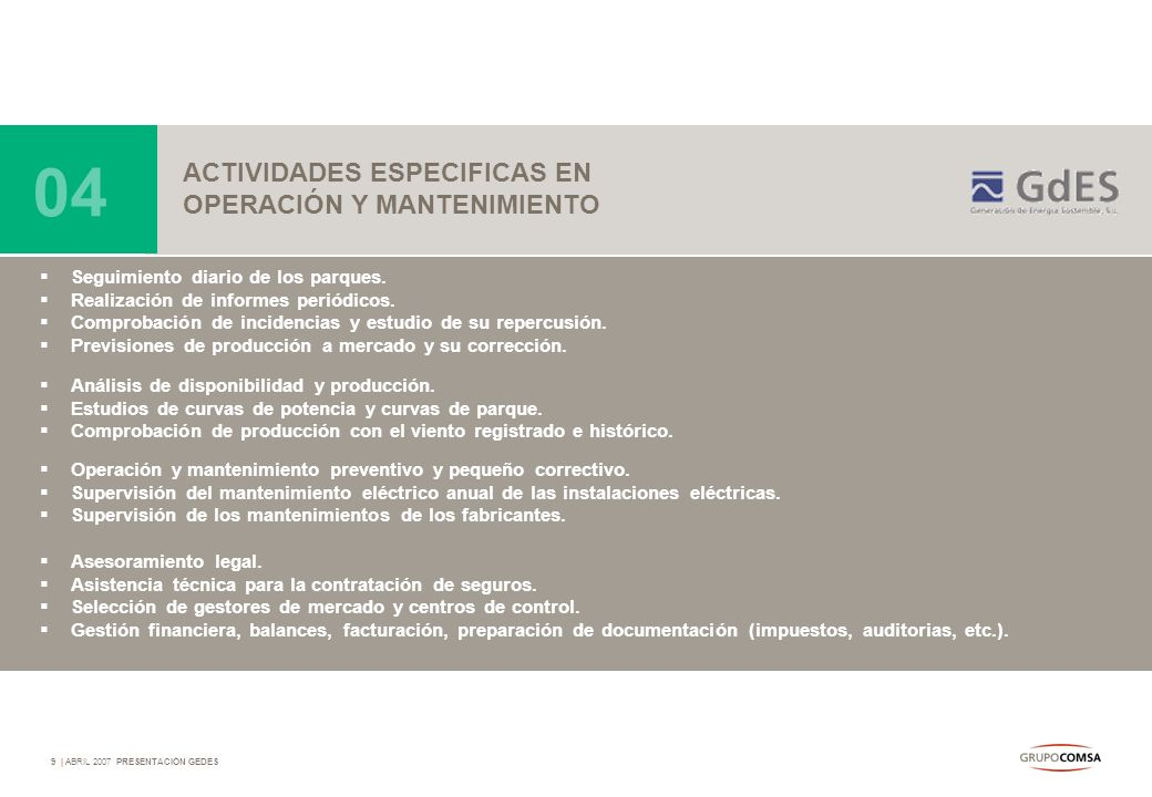04 ACTIVIDADES ESPECIFICAS EN OPERACIÓN Y MANTENIMIENTO