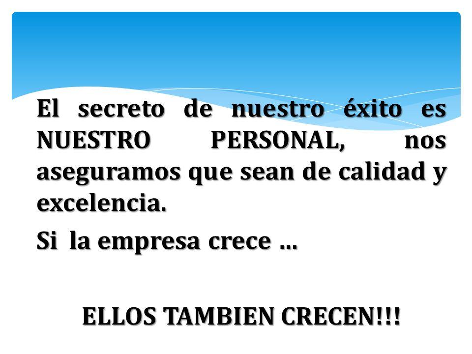 El secreto de nuestro éxito es NUESTRO PERSONAL, nos aseguramos que sean de calidad y excelencia.