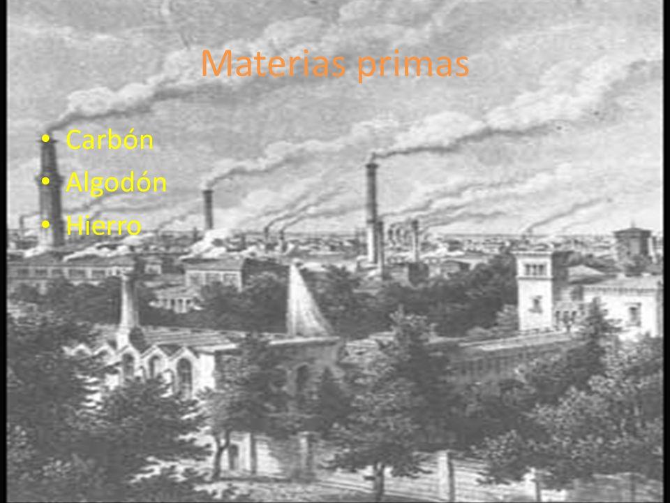 Materias primas Carbón Algodón Hierro