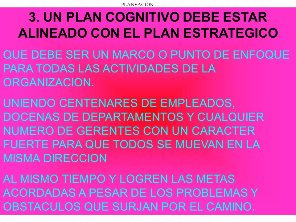 3. UN PLAN COGNITIVO DEBE ESTAR ALINEADO CON EL PLAN ESTRATEGICO