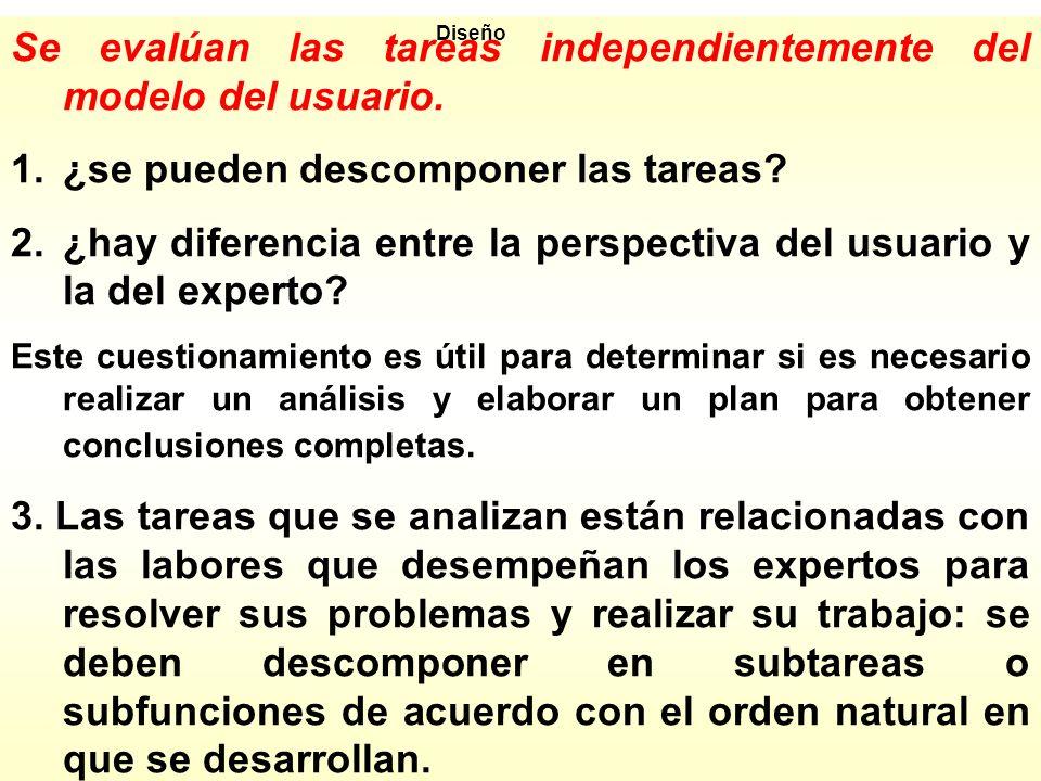 Se evalúan las tareas independientemente del modelo del usuario.