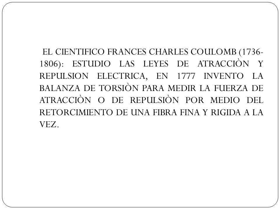 EL CIENTIFICO FRANCES CHARLES COULOMB (1736-1806): ESTUDIO LAS LEYES DE ATRACCIÒN Y REPULSION ELECTRICA, EN 1777 INVENTO LA BALANZA DE TORSIÒN PARA MEDIR LA FUERZA DE ATRACCIÒN O DE REPULSIÒN POR MEDIO DEL RETORCIMIENTO DE UNA FIBRA FINA Y RIGIDA A LA VEZ.