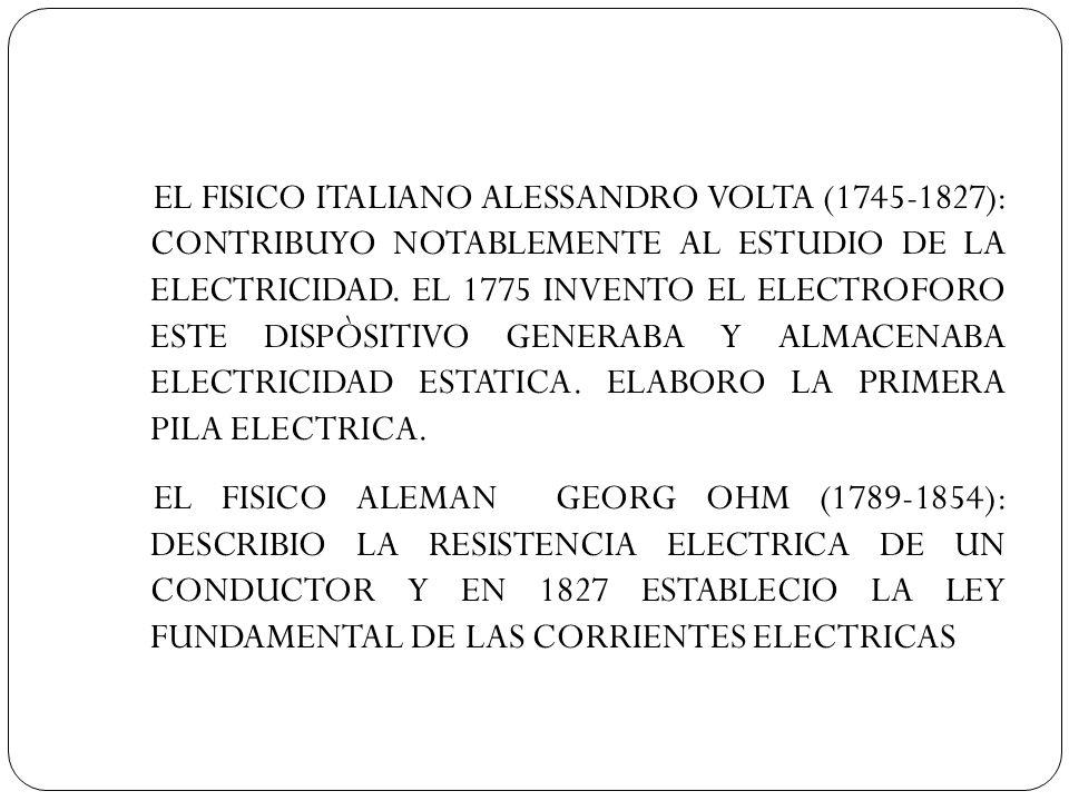 EL FISICO ITALIANO ALESSANDRO VOLTA (1745-1827): CONTRIBUYO NOTABLEMENTE AL ESTUDIO DE LA ELECTRICIDAD. EL 1775 INVENTO EL ELECTROFORO ESTE DISPÒSITIVO GENERABA Y ALMACENABA ELECTRICIDAD ESTATICA. ELABORO LA PRIMERA PILA ELECTRICA.