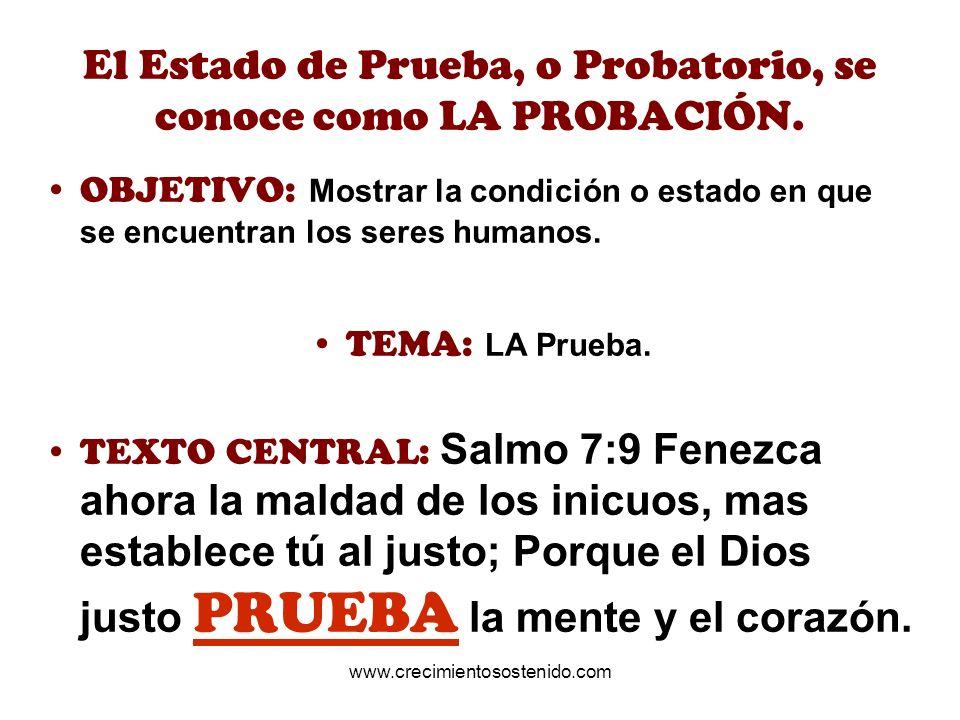 El Estado de Prueba, o Probatorio, se conoce como LA PROBACIÓN.