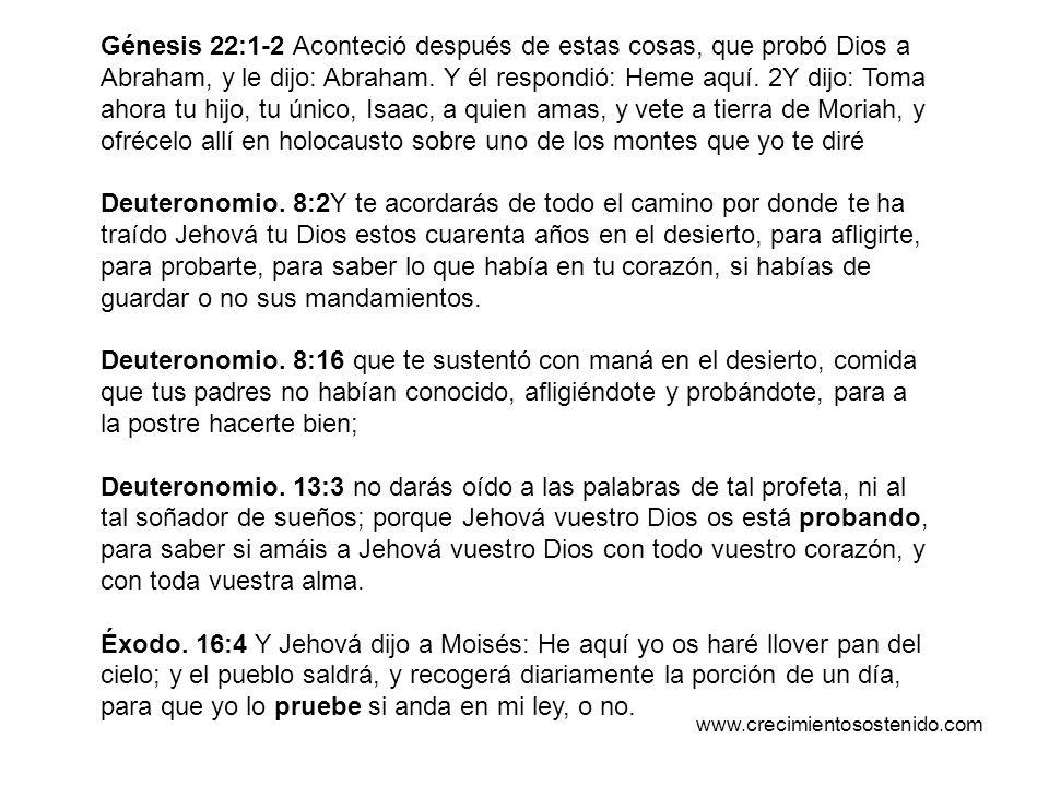 Génesis 22:1-2 Aconteció después de estas cosas, que probó Dios a Abraham, y le dijo: Abraham. Y él respondió: Heme aquí. 2Y dijo: Toma ahora tu hijo, tu único, Isaac, a quien amas, y vete a tierra de Moriah, y ofrécelo allí en holocausto sobre uno de los montes que yo te diré