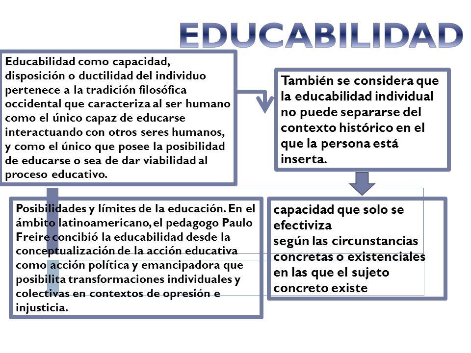 EDUCABILIDAD También se considera que la educabilidad individual