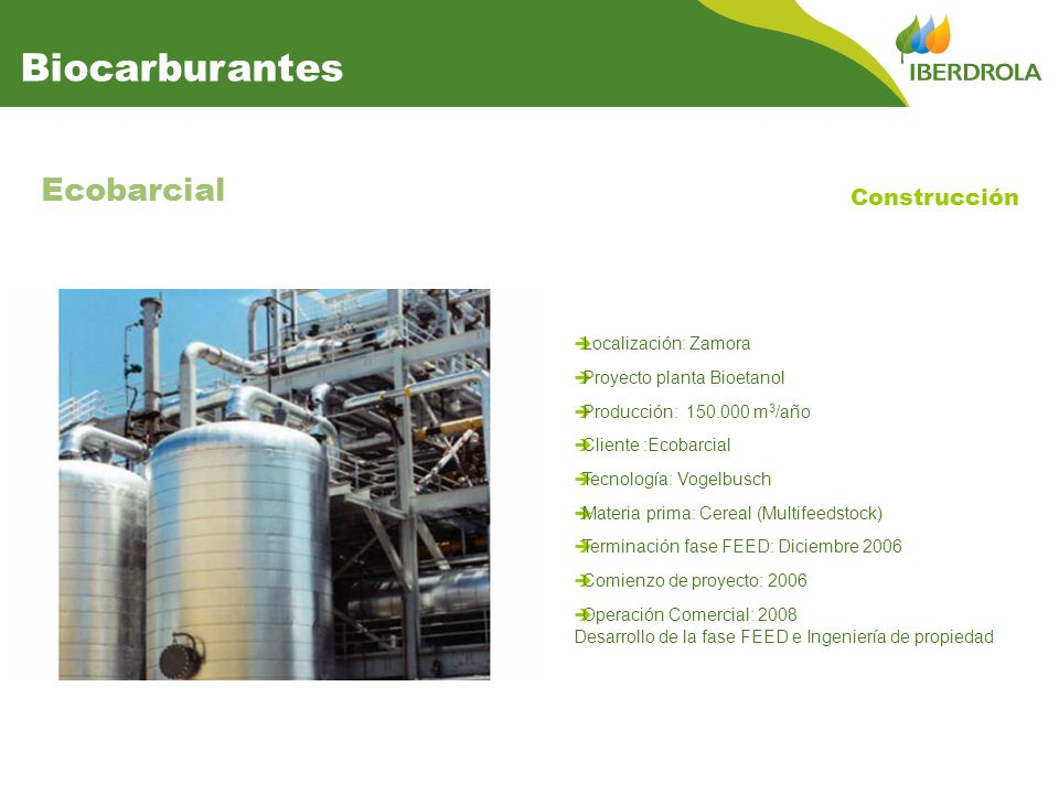 Biocarburantes Ecobarcial Construcción Localización: Zamora