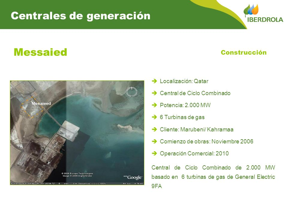 Messaied Centrales de generación Construcción Localización: Qatar