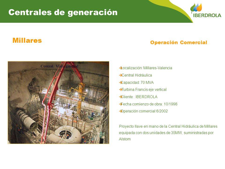 Millares Centrales de generación Operación Comercial