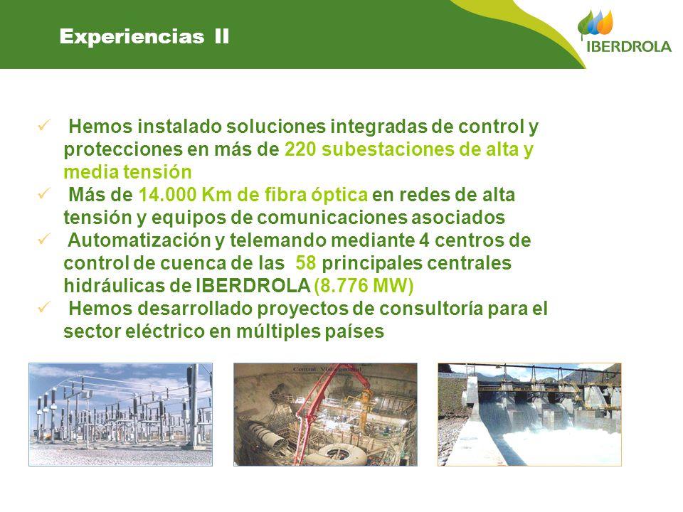 Experiencias II Hemos instalado soluciones integradas de control y protecciones en más de 220 subestaciones de alta y media tensión.