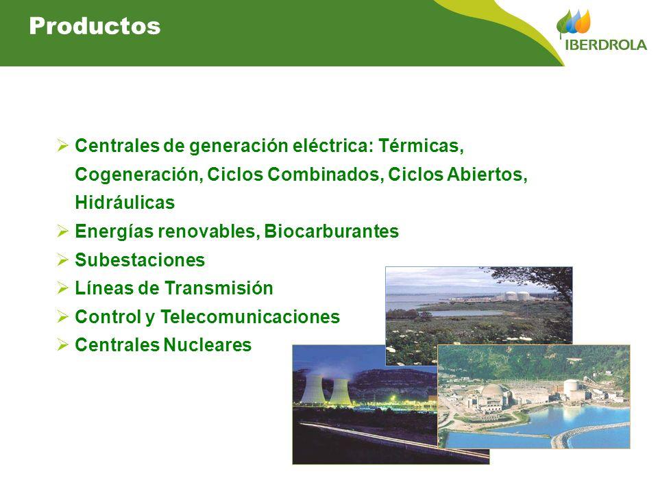 Productos Centrales de generación eléctrica: Térmicas, Cogeneración, Ciclos Combinados, Ciclos Abiertos,