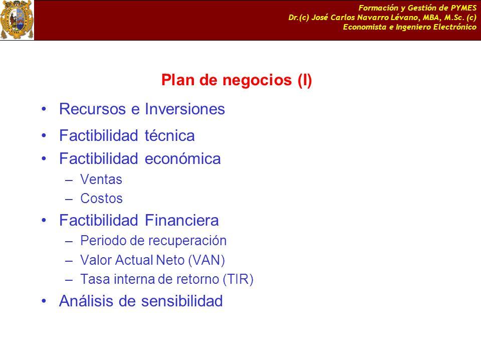 Recursos e Inversiones Factibilidad técnica Factibilidad económica