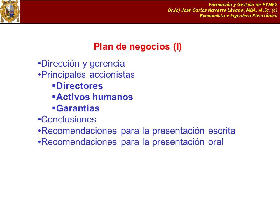 Principales accionistas Directores Activos humanos Garantías