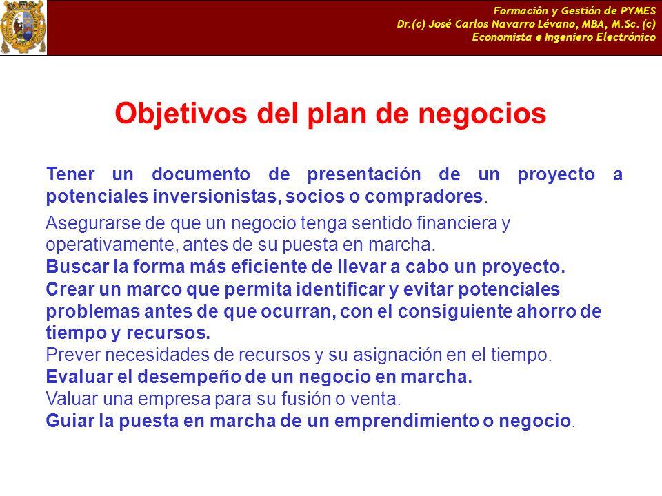 Objetivos del plan de negocios