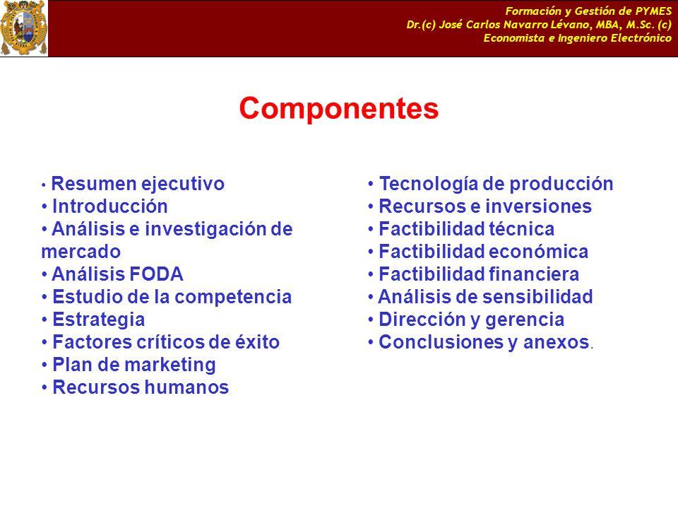 Componentes Introducción Análisis e investigación de mercado