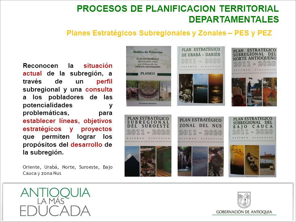 PROCESOS DE PLANIFICACION TERRITORIAL DEPARTAMENTALES