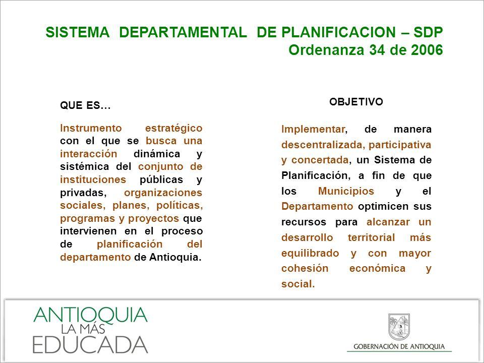 SISTEMA DEPARTAMENTAL DE PLANIFICACION – SDP Ordenanza 34 de 2006