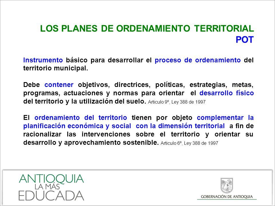 LOS PLANES DE ORDENAMIENTO TERRITORIAL POT