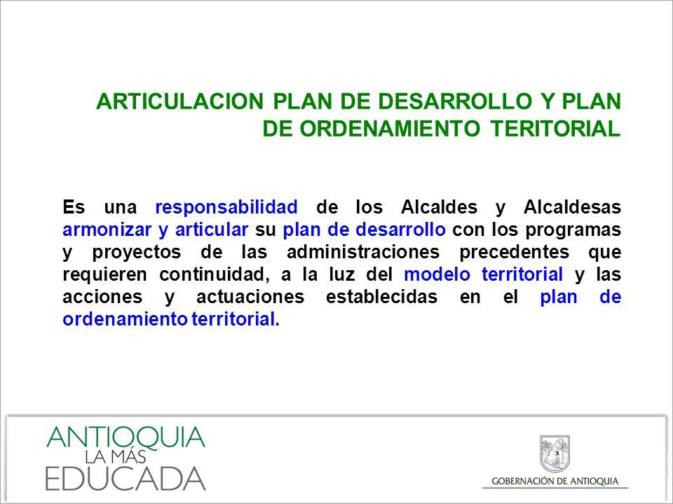 ARTICULACION PLAN DE DESARROLLO Y PLAN DE ORDENAMIENTO TERITORIAL