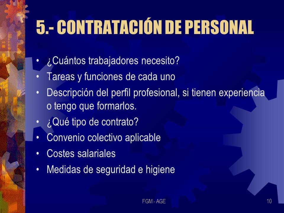 5.- CONTRATACIÓN DE PERSONAL