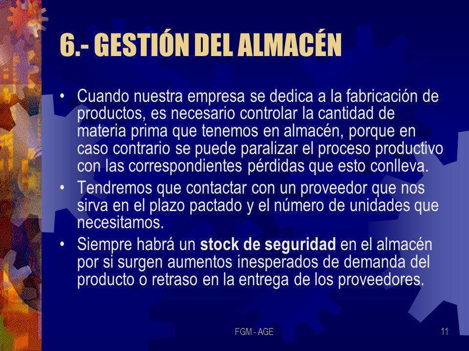 6.- GESTIÓN DEL ALMACÉN