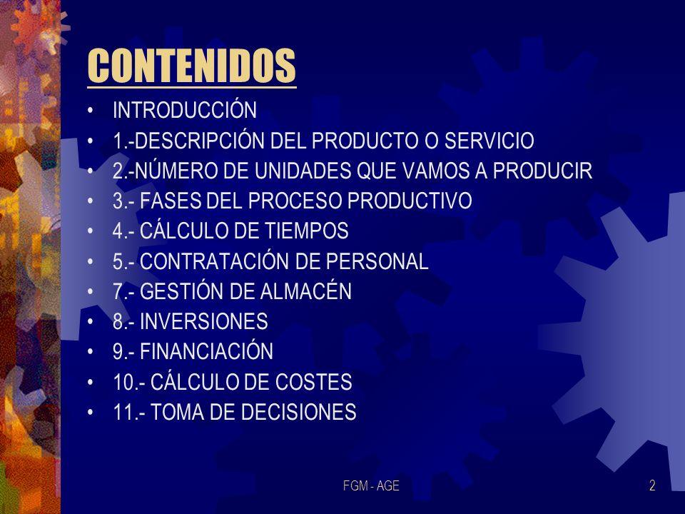 CONTENIDOS INTRODUCCIÓN 1.-DESCRIPCIÓN DEL PRODUCTO O SERVICIO