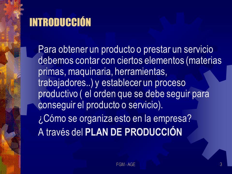 ¿Cómo se organiza esto en la empresa A través del PLAN DE PRODUCCIÓN