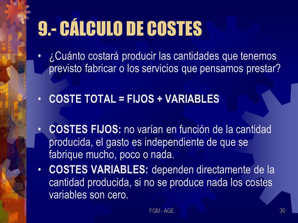 9.- CÁLCULO DE COSTES ¿Cuánto costará producir las cantidades que tenemos previsto fabricar o los servicios que pensamos prestar