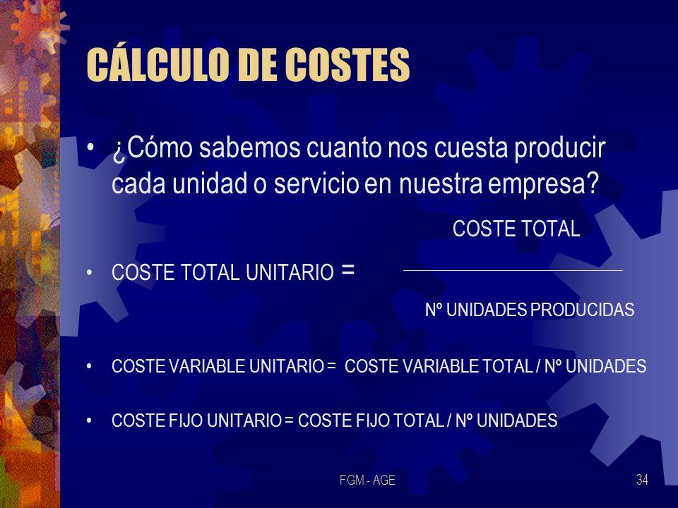 CÁLCULO DE COSTES ¿Cómo sabemos cuanto nos cuesta producir cada unidad o servicio en nuestra empresa
