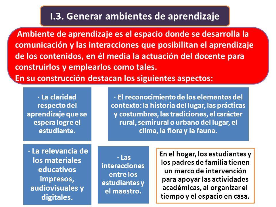 I.3. Generar ambientes de aprendizaje