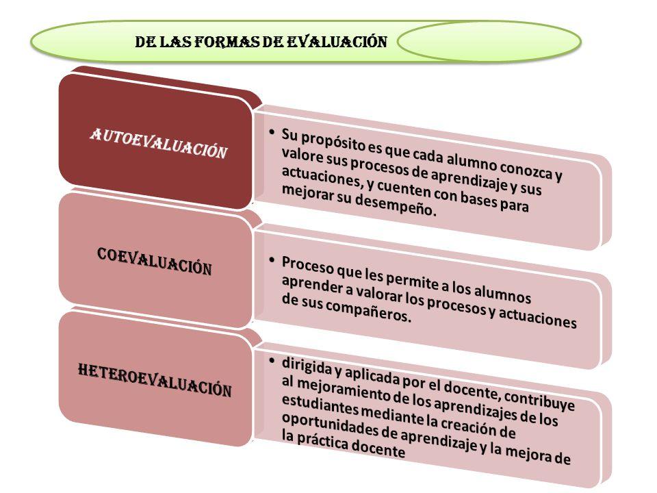 de las formas de evaluación