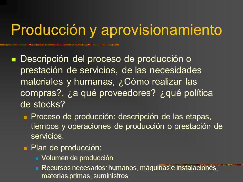 Producción y aprovisionamiento