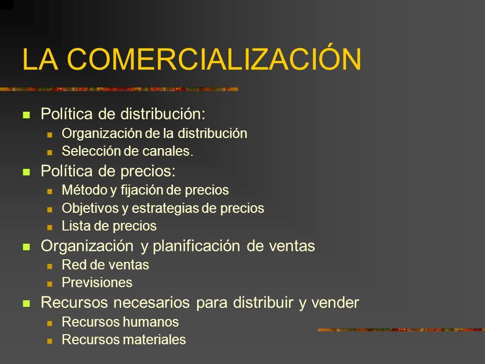 LA COMERCIALIZACIÓN Política de distribución: Política de precios:
