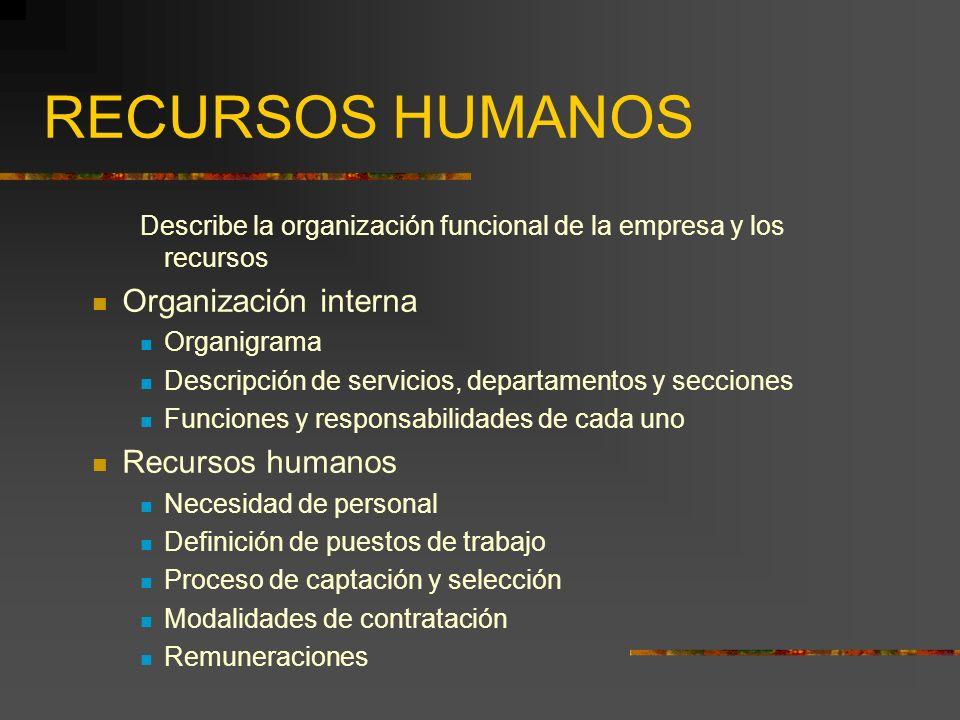 RECURSOS HUMANOS Organización interna Recursos humanos