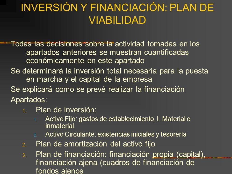 INVERSIÓN Y FINANCIACIÓN: PLAN DE VIABILIDAD