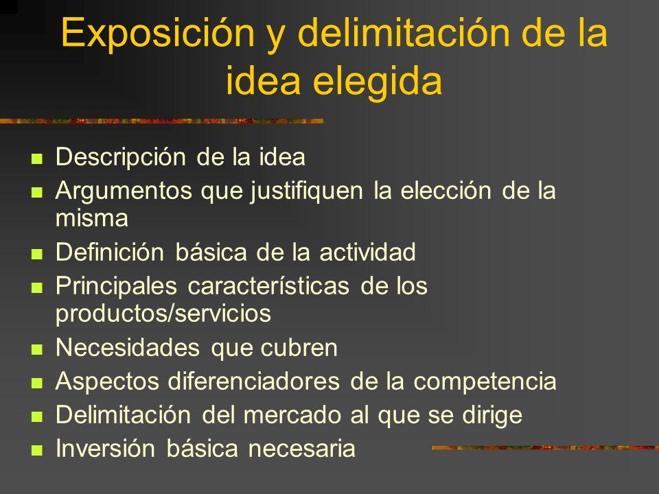 Exposición y delimitación de la idea elegida